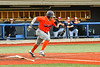 Cortland Crush Javier Rosa (3) running to First Base after hitting the ball against the Syracuse Salt Cats in New York Collegiate Baseball League action at OCC Turf Field in Syracuse, New York on Monday, June 14, 2021. Game ended in a 2-2 tie.