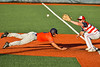 Cortland Crush Michael Breen (6) dives back to First Base against the Syracuse Salt Cats in New York Collegiate Baseball League action at OCC Turf Field in Syracuse, New York on Monday, June 14, 2021. Game ended in a 2-2 tie.