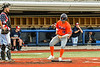 """Cortland Crush Brandon """"Buzz"""" Shirley (18) scores a run against the Syracuse Salt Cats in New York Collegiate Baseball League action at OCC Turf Field in Syracuse, New York on Monday, June 14, 2021. Game ended in a 2-2 tie."""