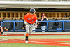 """Cortland Crush Brandon """"Buzz"""" Shirley (18) heads to First Base after hitting the ball against the Syracuse Salt Cats in New York Collegiate Baseball League action at OCC Turf Field in Syracuse, New York on Monday, June 14, 2021. Game ended in a 2-2 tie."""