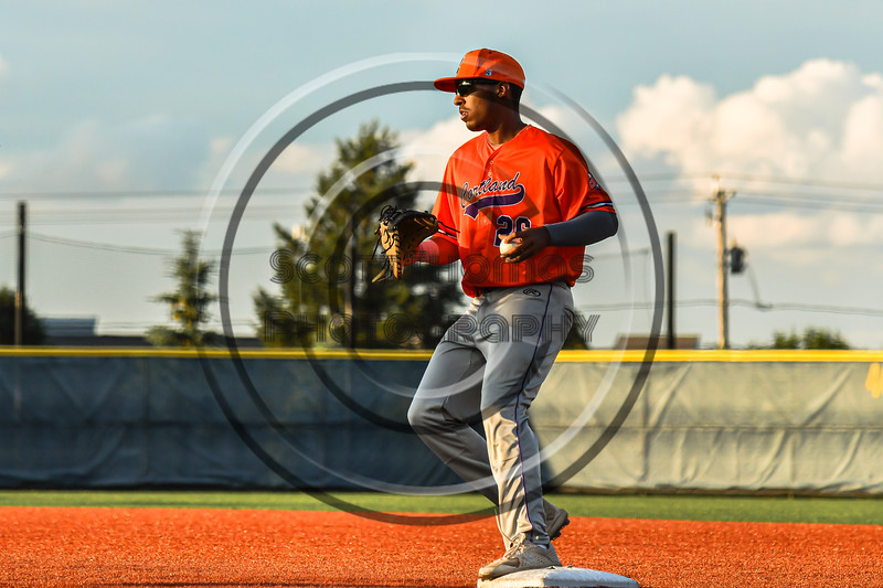 Cortland Crush Alexis Castillo (26) steps on First Base for an out against the Syracuse Salt Cats in New York Collegiate Baseball League action at OCC Turf Field in Syracuse, New York on Monday, June 14, 2021. Game ended in a 2-2 tie.