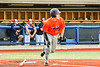 Cortland Crush Matthew Ward (20) heads to First Base after hitting the ball against the Syracuse Salt Cats in New York Collegiate Baseball League action at OCC Turf Field in Syracuse, New York on Monday, June 14, 2021. Game ended in a 2-2 tie.