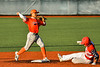 Cortland Crush Javier Rosa (3) forces out Syracuse Salt Cats Shannon Baker (15) in New York Collegiate Baseball League action at OCC Turf Field in Syracuse, New York on Monday, June 14, 2021. Game ended in a 2-2 tie.
