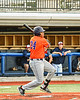 Cortland Crush Lawrence Hamilton (34) after hitting the ball against the Syracuse Salt Cats in New York Collegiate Baseball League action at OCC Turf Field in Syracuse, New York on Monday, June 14, 2021. Game ended in a 2-2 tie.