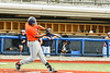 Cortland Crush Lawrence Hamilton (34) hits the ball against the Syracuse Salt Cats in New York Collegiate Baseball League action at OCC Turf Field in Syracuse, New York on Monday, June 14, 2021. Game ended in a 2-2 tie.