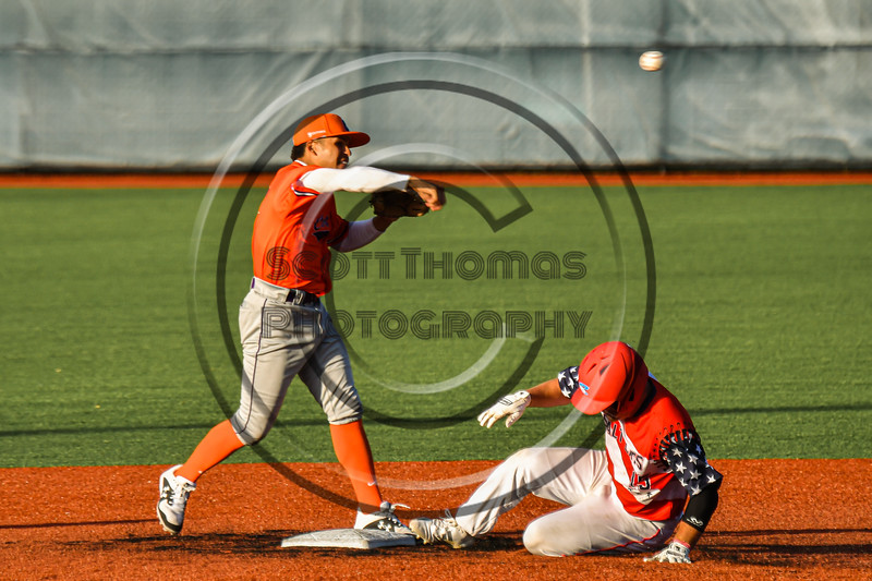Cortland Crush Javier Rosa (3) tries to complete te double-play against the Syracuse Salt Cats in New York Collegiate Baseball League action at OCC Turf Field in Syracuse, New York on Monday, June 14, 2021. Game ended in a 2-2 tie.