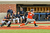 """Cortland Crush Brandon """"Buzz"""" Shirley (18) watches the ball after a hit against the Syracuse Salt Cats in New York Collegiate Baseball League action at OCC Turf Field in Syracuse, New York on Monday, June 14, 2021. Game ended in a 2-2 tie."""