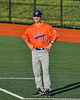 Cortland Crush Assistant Coach Colin Dower (11) coaching at First Base against the Syracuse Salt Cats in New York Collegiate Baseball League action at OCC Turf Field in Syracuse, New York on Monday, June 14, 2021. Game ended in a 2-2 tie.