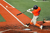 """Cortland Crush Brandon """"Buzz"""" Shirley (18) hits the ball against the Syracuse Salt Cats in New York Collegiate Baseball League action at OCC Turf Field in Syracuse, New York on Monday, June 14, 2021. Game ended in a 2-2 tie."""