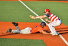 Cortland Crush Michael Breen (6) gets back to First Base safely against the Syracuse Salt Cats in New York Collegiate Baseball League action at OCC Turf Field in Syracuse, New York on Monday, June 14, 2021. Game ended in a 2-2 tie.