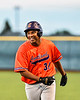 Cortland Crush Lawrence Hamilton (34) after beating out the throw to First Base against the Syracuse Salt Cats in New York Collegiate Baseball League action at OCC Turf Field in Syracuse, New York on Monday, June 14, 2021. Game ended in a 2-2 tie.