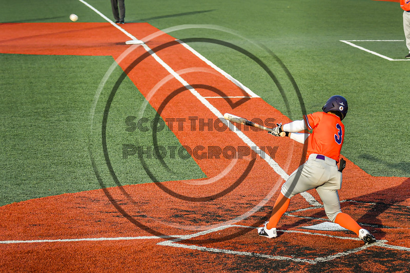 Cortland Crush Javier Rosa (3) hits the ball against the Syracuse Salt Cats in New York Collegiate Baseball League action at OCC Turf Field in Syracuse, New York on Monday, June 14, 2021. Game ended in a 2-2 tie.