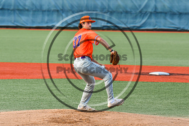 Cortland Crush Luis Rivera (37) pitching against the Syracuse Salt Cats in New York Collegiate Baseball League action at OCC Turf Field in Syracuse, New York on Monday, June 14, 2021. Game ended in a 2-2 tie.