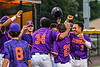 Cortland Crush players celebrate the Home Run by Noah Barber (27) against the Sherrill Silversmiths in New York Collegiate Baseball League action at Gutchess Lumber Sports Complex in Cortland, New York on Friday, June 18, 2021. Cortland won 15-5.