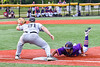 Cortland Crush Justice Welch (12) gets back to First Base against Sherrill Silversmiths Ryan Lutinski (21) in New York Collegiate Baseball League action at Gutchess Lumber Sports Complex in Cortland, New York on Friday, June 18, 2021. Cortland won 15-5.