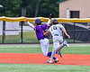 Sherrill Silversmiths Clay Campbell (16) tags out Cortland Crush Javier Rosa (3) on a run down in New York Collegiate Baseball League action at Gutchess Lumber Sports Complex in Cortland, New York on Friday, June 18, 2021. Cortland won 15-5.