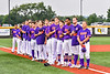 Cortland Crush players and coaches standing for the National Anthem before a New York Collegiate Baseball League game at Gutchess Lumber Sports Complex in Cortland, New York on Friday, June 18, 2021.