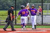 """Cortland Crush Javier Rosa (3) and Lawrence Hamilton (34) congratulate Brandon """"Buzz"""" Shirley (18) on his Home Run against the Sherrill Silversmiths in New York Collegiate Baseball League action at Gutchess Lumber Sports Complex in Cortland, New York on Friday, June 18, 2021. Cortland won 15-5."""