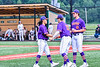 """Cortland Crush Brandon """"Buzz"""" Shirley (18) and John Davis (32) congratulate David Keller (17) on his pitching against the Sherrill Silversmiths in New York Collegiate Baseball League action at Gutchess Lumber Sports Complex in Cortland, New York on Friday, June 18, 2021. Cortland won 15-5."""