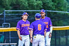 Cortland Crush Manager Bill McConnell meeting with Pitcher David Keller (17) at the mound against the Sherrill Silversmiths in New York Collegiate Baseball League action at Gutchess Lumber Sports Complex in Cortland, New York on Friday, June 18, 2021. Cortland won 15-5.