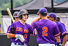 """Cortland Crush players congratulates Brandon """"Buzz"""" Shirley (18) on his Home Run against the Sherrill Silversmiths in New York Collegiate Baseball League action at Gutchess Lumber Sports Complex in Cortland, New York on Friday, June 18, 2021. Cortland won 15-5."""