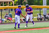 Cortland Crush Manager Bill McConnell congratulates Nicholas Pastore (1) for his Home Run against the Sherrill Silversmiths in New York Collegiate Baseball League action at Gutchess Lumber Sports Complex in Cortland, New York on Friday, June 18, 2021. Cortland won 15-5.