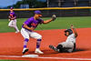 Cortland Crush Justice Welch (12) tags the Sherrill Silversmiths base runner out at Third Base in New York Collegiate Baseball League action at Gutchess Lumber Sports Complex in Cortland, New York on Friday, June 18, 2021. Cortland won 15-5.