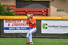 Cortland Crush Zack Hynes (14) running down and catching the ball for an out against the Hornell Dodgers in New York Collegiate Baseball League action at Gutchess Lumber Sports Complex in Cortland, New York on Saturday, June 19, 2021. Hornell won 8-3