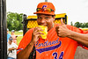 Cortland Crush Lawrence Hamilton (34) enjoying a pre-game burger before playing the Hornell Dodgers in a New York Collegiate Baseball League game at Gutchess Lumber Sports Complex in Cortland, New York on Saturday, June 19, 2021.