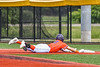 """Cortland Crush Brandon """"Buzz"""" Shirley (18) getting safely back to First Base against the Hornell Dodgers in New York Collegiate Baseball League action at Gutchess Lumber Sports Complex in Cortland, New York on Saturday, June 19, 2021. Hornell won 8-3"""