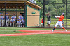 """Cortland Crush Brandon """"Buzz"""" Shirley (18) hits the ball against the Hornell Dodgers in New York Collegiate Baseball League action at Gutchess Lumber Sports Complex in Cortland, New York on Saturday, June 19, 2021. Hornell won 8-3"""