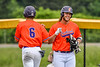Cortland Crush Michael Breen (6) comes out to Pitch Run for Griffin Snyder (29) against the Hornell Dodgers in New York Collegiate Baseball League action at Gutchess Lumber Sports Complex in Cortland, New York on Saturday, June 19, 2021. Hornell won 8-3