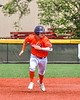 """Cortland Crush Brandon """"Buzz"""" Shirley (18) running the bases against the Hornell Dodgers in New York Collegiate Baseball League action at Gutchess Lumber Sports Complex in Cortland, New York on Saturday, June 19, 2021. Hornell won 8-3"""
