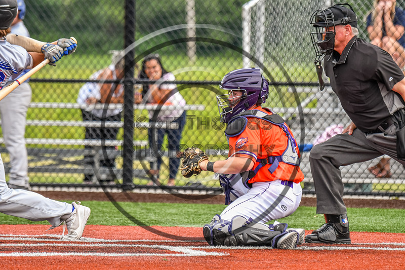 Cortland Crush Seth Reisman (8) catching against the Hornell Dodgers in New York Collegiate Baseball League action at Gutchess Lumber Sports Complex in Cortland, New York on Saturday, June 19, 2021. Hornell won 8-3