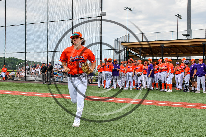 Cortland Crush Corey Stofko (15) being introduced before playing the Hornell Dodgers in a New York Collegiate Baseball League game at Gutchess Lumber Sports Complex in Cortland, New York on Saturday, June 19, 2021.