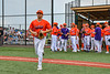 Cortland Crush Rob Ciulla (13) being introduced before playing the Hornell Dodgers in a New York Collegiate Baseball League game at Gutchess Lumber Sports Complex in Cortland, New York on Saturday, June 19, 2021.