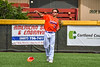 Cortland Crush Zack Hynes (14) throwing the ball against the Hornell Dodgers in New York Collegiate Baseball League action at Gutchess Lumber Sports Complex in Cortland, New York on Saturday, June 19, 2021. Hornell won 8-3