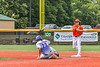 Cortland Crush Corey Stofko (15) turning a Double Play against the Hornell Dodgers in New York Collegiate Baseball League action at Gutchess Lumber Sports Complex in Cortland, New York on Saturday, June 19, 2021. Hornell won 8-3