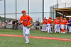 Cortland Crush Zack Hynes (14) being introduced before playing the Hornell Dodgers in a New York Collegiate Baseball League game at Gutchess Lumber Sports Complex in Cortland, New York on Saturday, June 19, 2021.