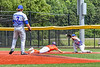 """Hornell Dodgers Pitcher Charlie White (7) throwign to First Baseman Brody Burdett (2) to try an get Cortland Crush Brandon """"Buzz"""" Shirley (18) out in New York Collegiate Baseball League action at Gutchess Lumber Sports Complex in Cortland, New York on Saturday, June 19, 2021. Hornell won 8-3"""