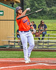 Cortland Crush Griffin Snyder (29) clearing a bat before heading to First Base against the Hornell Dodgers in New York Collegiate Baseball League action at Gutchess Lumber Sports Complex in Cortland, New York on Saturday, June 19, 2021. Hornell won 8-3