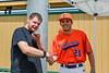 Cortland Crush sponsor X101 FM interviewing Crush Tyler Beard (21) at Gutchess Lumber Sports Complex in Cortland, New York on Saturday, June 19, 2021.
