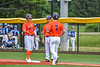 """Cortland Crush Jason Boule (7) coming out to Pitch Run for Brandon """"Buzz"""" Shirley (18) at First Base against the Hornell Dodgers in New York Collegiate Baseball League action at Gutchess Lumber Sports Complex in Cortland, New York on Saturday, June 19, 2021. Hornell won 8-3"""