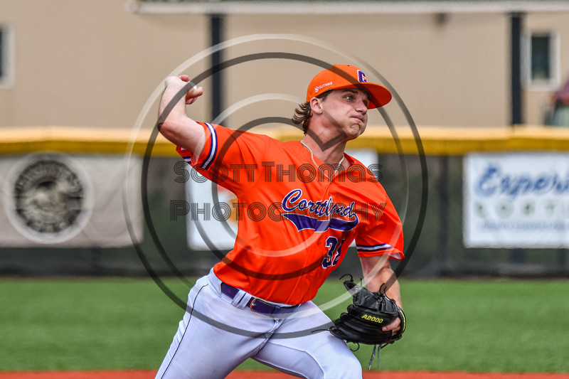 Cortland Crush Kevin Rosengren (38) pitching against the Hornell Dodgers in New York Collegiate Baseball League action at Gutchess Lumber Sports Complex in Cortland, New York on Saturday, June 19, 2021. Hornell won 8-3
