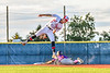 Cortland Crush Nicholas Pastore (1) slides into Second Base as Syracuse Salt Cats Craig Alleyne (7) jumps to catch the ball in New York Collegiate Baseball League action at OCC Turf Field in Syracuse, New York on Tuesday, June 22, 2021. Cortland won 6-4.
