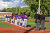 Cortland Crush players stand for the National Anthem before playing in a New York Collegiate Baseball League game at OCC Turf Field in Syracuse, New York on Tuesday, June 22, 2021.