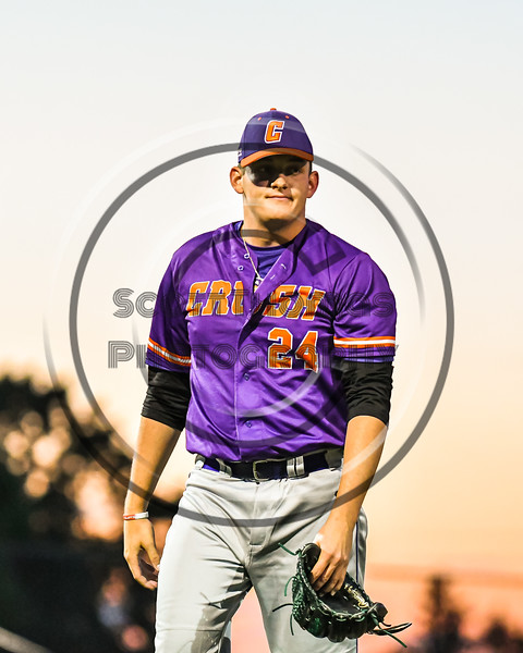 Cortland Crush Pitcher Justin DelVecchio (24) after getting out the Syracuse Salt Cats in New York Collegiate Baseball League action at OCC Turf Field in Syracuse, New York on Tuesday, June 22, 2021. Cortland won 6-4.