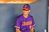 Cortland Crush Assistant Coach (9) in the dugout before playing the Syracuse Salt Cats in a New York Collegiate Baseball League game at OCC Turf Field in Syracuse, New York on Tuesday, June 22, 2021.