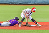 Cortland Crush Nicholas Pastore (1) gets back to Sceond Base Syracuse Salt Cats Craig Alleyne (7) tag in New York Collegiate Baseball League action at OCC Turf Field in Syracuse, New York on Tuesday, June 22, 2021. Cortland won 6-4.