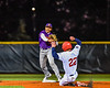 Cortland Crush Javier Rosa (3) turning a Double Play against the Syracuse Salt Cats in New York Collegiate Baseball League action at OCC Turf Field in Syracuse, New York on Tuesday, June 22, 2021. Cortland won 6-4.